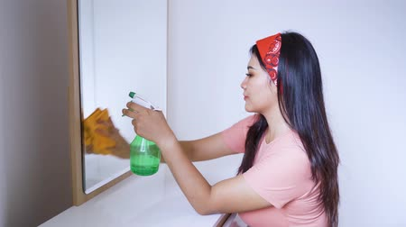 dienstbode : Side view of housewife cleaning a mirror with a duster and spray at home. Shot in 4k resolution