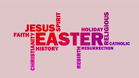 евангелие : Easter word cloud animation on pink background. Kinetic typography in 4k resolution