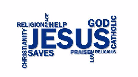 спаситель : Jesus word cloud animation, isolated on white background. Kinetic typography in 4k resolution