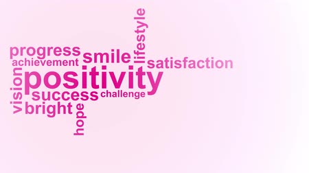 Positivity word cloud animation on pink background. Kinetic typography in 4k resolution