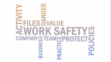 dosya : Work safety word cloud animation, isolated on white background. Text design typography animation in 4k resolution Stok Video