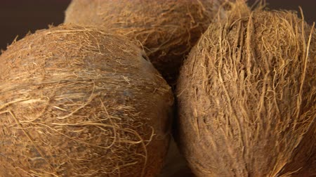 rehydration : Three brown ripe tropical coconuts rotating on a black background. Tropical fruits and food. Looping Stock Footage
