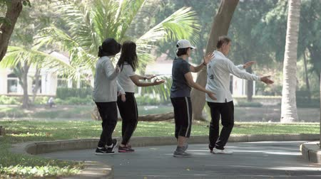 chi : BANGKOK, THAILAND - CIRCA March 2017: Group of active people practicing wushu in Lumpini Park