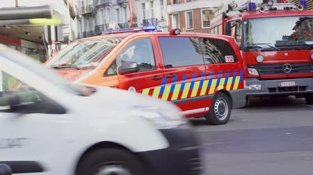 mobilization : PARIS, FRANCE- CIRCA August 2017: Police and firefighters car. Emergency vehicles in street of Brussels. Stock Footage