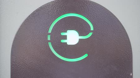 eko : Green sign of power socket for electric cars. Concept of eco friendly resources preservation. Wideo