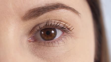 olhos castanhos : Close up of a young womans brown eye. Girl opening and blinking her eye.