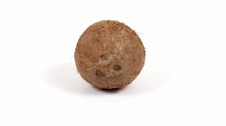 rehydration : One ripe whole brown tropical coconut rotating on white isolated background. Healthy fresh tropical fruit. Loopable seamless coco rotating