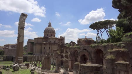 imperial : Panorama of ancient ruins Forum Romanum. Roman forum in center of Rome city, Italy. Beautiful historical european architecture. Columns and stones of old monument in slow motion