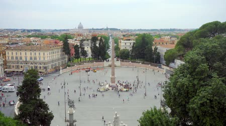 obelisco : ROME, ITALY 14 August 2017: Piazza del Popolo with people walking around. Peoples Square in center of Rome city, Italy