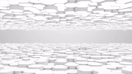 mozaik : 3d rendering Hexagon white grid pattern technology background loop