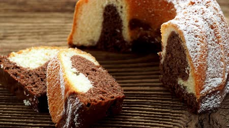 búzadara : Traditional homemade marble cake. Sliced marble bundt cake on wooden table