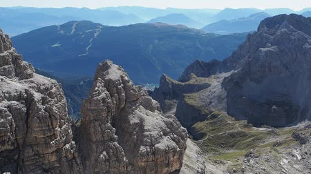 Panoramic view of famous Dolomites mountain peaks, Brenta. Trentino, Italy
