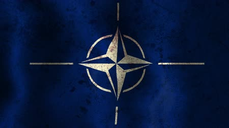 blue flag : NATO worn stained grunge flag waving