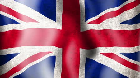 büyük britanya : A worn grunge national 3d british flag waving.