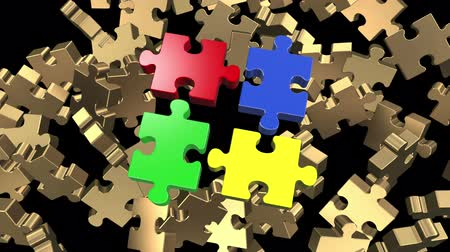 jigsaw : Golden puzzle pieces flying Stock Footage