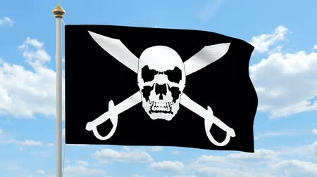 vetor : Pirate flag waving Stock Footage