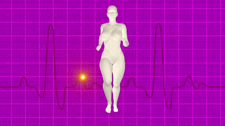 Woman jogging pink oscilloscope Wideo
