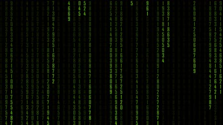 matriz : Technology digital matrix fall in dark or black background with random number 0 to 9 or number in ufo green color. Stock Footage