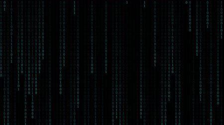 matriz : Technology digital matrix number fall in dark or black background with random number 0 and 1 or binary code in light blue azure color.