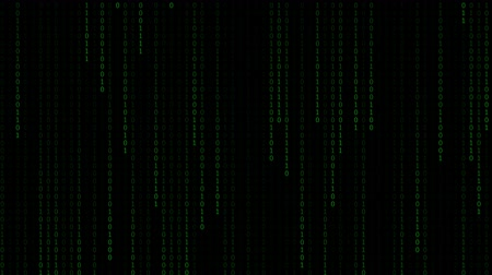 matriz : Technology digital matrix fall in dark or black background with random number 0 and 1 or binary in light green color.
