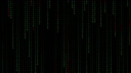 matriz : Technology digital fall in dark or black background with text red of Virus, Worm, Spyware, Trojan, Malware number of one, two random number 0 and 1 or binary in light green color. Stock Footage