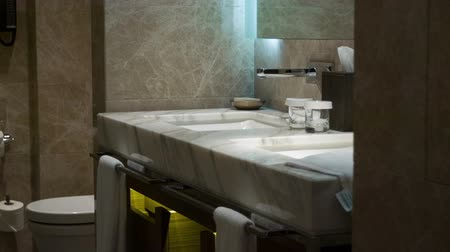 banyo : Interior of the toilet and bathroom in a modern hotel without people. Horizontal dolly shot