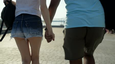 sentiment : Rear view of happy lovers holding hands Stock Footage