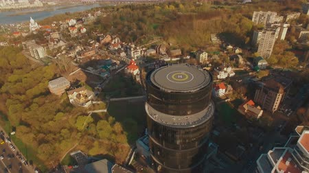 heliport : Modern business center with helipad 4K UHD aerial footage Stock Footage