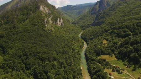 zip line : Canyon of the river Tara from above. Montenegro.Aerial drone footage