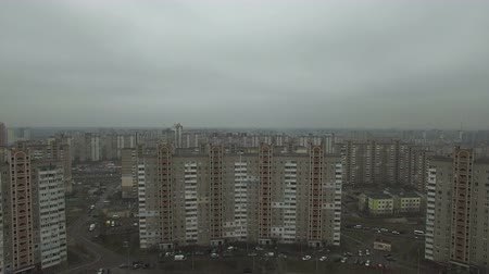 slum house : Aerial footage of gray Soviet houses pattern. USSR identical houses