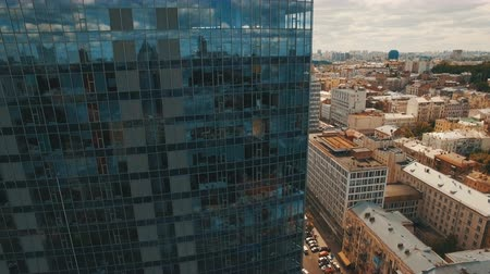 metropolitan area : Aerial footage of modern business center in the middle of the old town