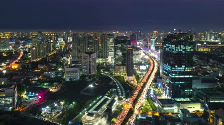capital cities : Timelapse view of Bangkok city scape at sunset Thailand