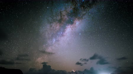 yolları : Milky Way at Moai Ahu Tongariki, Easter Island Chile Stok Video