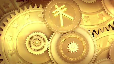 time machine : Time is money. Clock mechanism made of currency coins Stock Footage