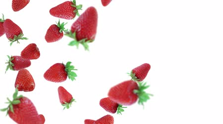 çilek : Strawberries on white background. Isolated, loopable
