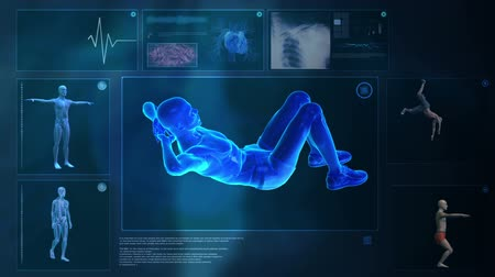 část těla : Blue futuristic screen. Computer X-raying human body. Animation
