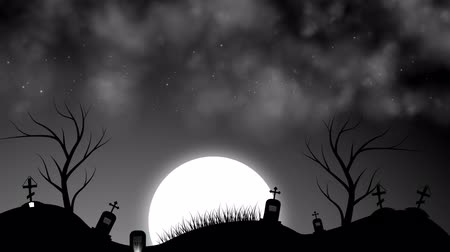 temető : A graveyard at night on Halloween