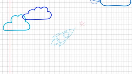 desenhada à mão : Rocket ship doodle icon. Hand drawn sketch Stock Footage