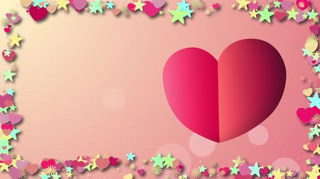 símbolo : Background with cartoon hearts Stock Footage