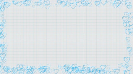 napirend : heart graphics in a notebook background