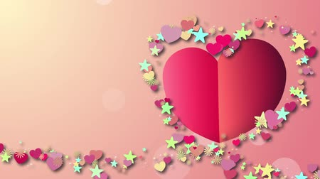 finale : Pink paper heart, background with particles