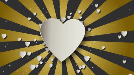 amour : Valentines day gold loopable abstract background. Hearts and glitter lights or bokeh particles
