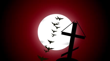heaven and hell : Cemetery cross sliding shot, evil dark cloudy sky red dawn glow, bird flying Stock Footage