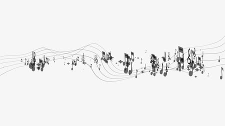 notation : Musical note and treble clef on swirling stave icon. Musical notation symbol of classic music composition or song melody with shadow for music themes design Stock Footage