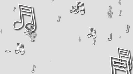 símbolo : Music notes flowing on white background. Seamless animation. HD 1080.