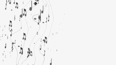 bassê : Ornamental music notes with swirls on white background Stock Footage
