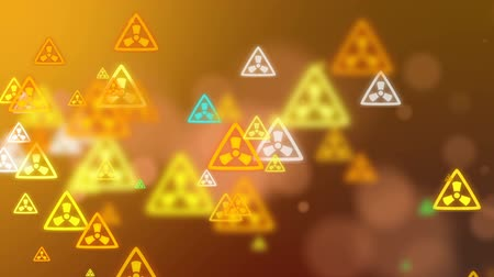 ter cuidado : Radioactivity Warning Symbol.Triangular road sign Stock Footage
