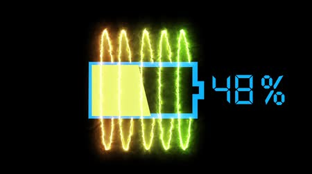 разряд : Battery charge animation, abstract graphic visualization of mobile devices rechargeable batteries being charged