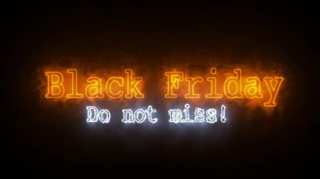 pátek : Black Friday fire animation on black background Dostupné videozáznamy