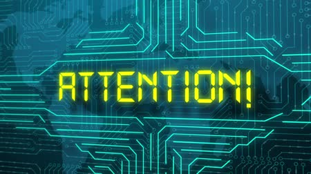 ter cuidado : Attention, futuristic message, monitor screen Stock Footage